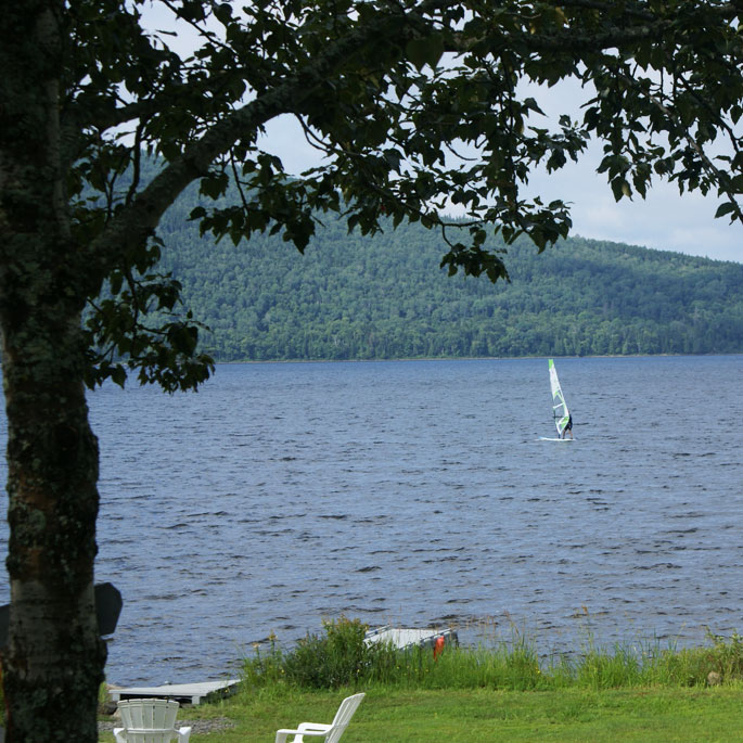 Windsurfing Maine Lake
