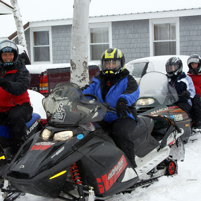 Maine snowmobile family